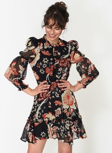 Loves You Geniş Manşet Eteği Volanlı Emprime Şifon Elbise Siyah